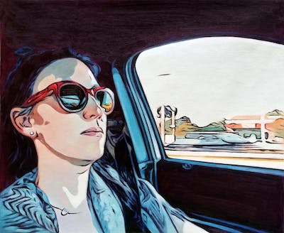 A painting of eyewear, vision care, sunglasses, glasses, cartoon, cool, automotive design, illustration, girl, art