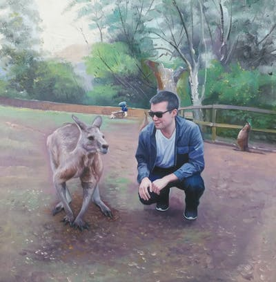 A painting of kangaroo, macropodidae, fauna, wildlife, marsupial, pack animal