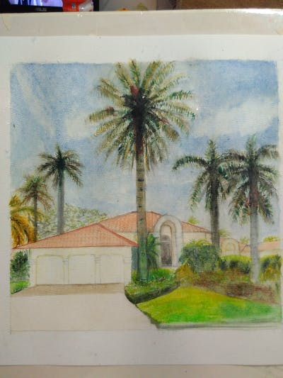 A painting of property, palm tree, home, arecales, estate, real estate, plant, sky, tree, hacienda