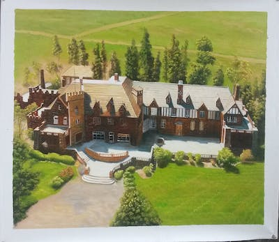 A painting of home, property, estate, mansion, real estate, house, cottage, villa, suburb, roof