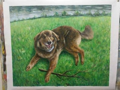 A painting of dog, dog like mammal, dog breed, dog breed group, nova scotia duck tolling retriever, snout, carnivoran, companion dog, sporting group, dog crossbreeds