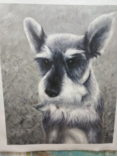 A painting of dog, dog like mammal, dog breed, black and white, miniature schnauzer, snout, schnauzer, monochrome photography, puppy, carnivoran