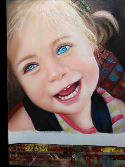 A painting of hair, face, facial expression, skin, eyebrow, human hair color, child, nose, smile, blond