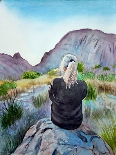 A painting of mountainous landforms, sky, mountain, wilderness, rock, beauty, hill, girl, tree, fell