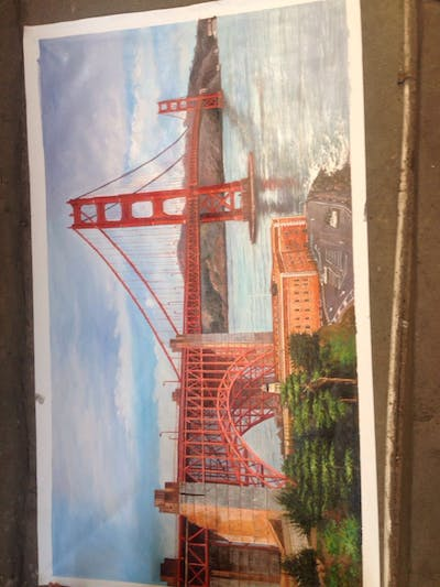 A painting of bridge, landmark, sky, fixed link, suspension bridge, arch bridge, extradosed bridge, water, city, girder bridge