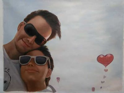 A painting of eyewear, sky, sunglasses, vision care, glasses, cloud, fun, vacation, summer, smile