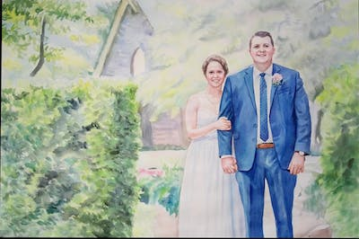 A painting of photograph, gown, bride, wedding dress, dress, wedding, bridal clothing, male, groom, groom