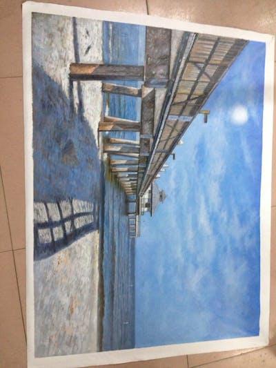 A painting of sea, pier, sky, cloud, coast, ocean, shore, horizon, water, beach
