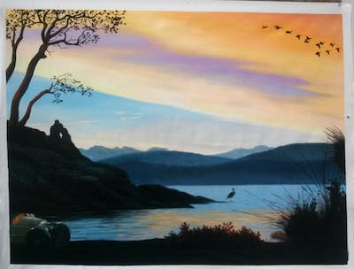 A painting of sky, nature, loch, water, lake, sunset, sunrise, reflection, tree, dawn