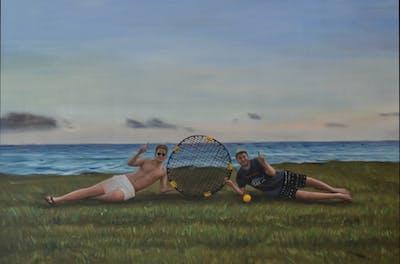 A painting of sky, sea, vacation, shore, beach, summer, horizon, coast, recreation, fun