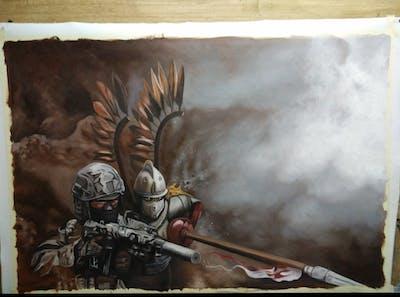 A painting of weapon, soldier, mercenary, pc game, computer wallpaper, war, cg artwork, militia, battle, warrior