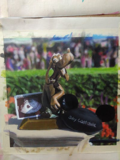 A painting of grass, statue, plant, tree, recreation, competition event, garden