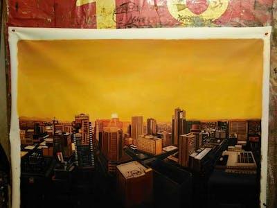 A painting of cityscape, city, metropolitan area, urban area, metropolis, skyscraper, skyline, sky, downtown, night