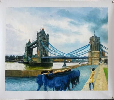 A painting of bridge, landmark, tourist attraction, water, sky, city, tourism, suspension bridge, fixed link, river
