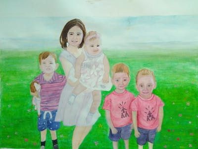 A painting of people, child, day, grass, toddler, fun, girl, summer, smile, plant