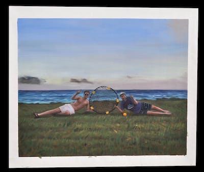 A painting of sky, sea, vacation, shore, beach, summer, horizon, recreation, coast, fun