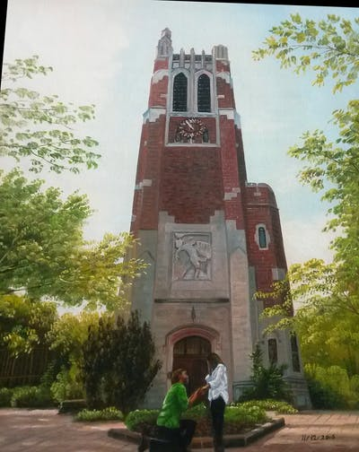A painting of landmark, building, church, place of worship, steeple, parish, memorial, chapel, medieval architecture, tree