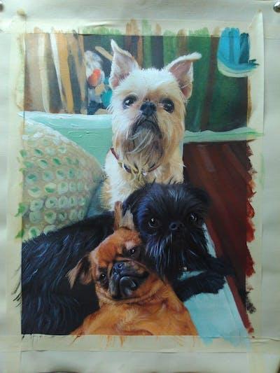 A painting of dog, dog breed, dog like mammal, dog breed group, snout, griffon bruxellois, pug, carnivoran, dog crossbreeds, companion dog