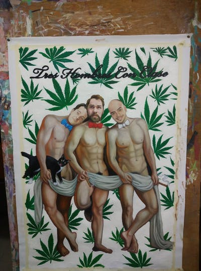 A painting of painting, barechestedness, muscle, human, art, art model, chest, mythology, artwork