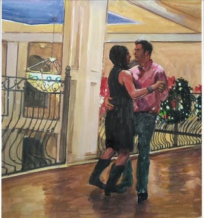 A painting of room, entertainment, dance, flooring, event, shoulder, floor, performing arts, tango, fun