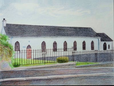 A painting of property, building, parish, facade, church, almshouse, house, place of worship, chapel, window
