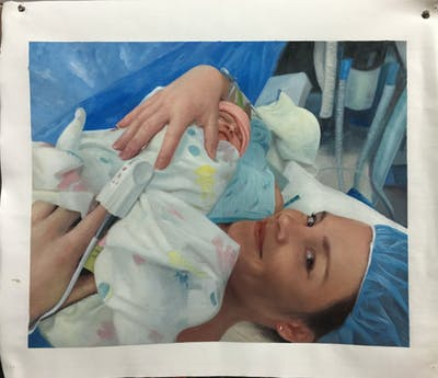A painting of child, infant, head, childbirth, product, finger, hand, patient