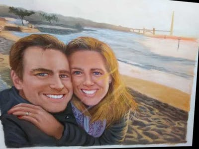 A painting of facial expression, vacation, smile, fun, beach, emotion, photography, friendship, summer, honeymoon