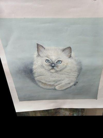 A painting of cat, small to medium sized cats, mammal, cat like mammal, vertebrate, whiskers, ragdoll, kitten, birman, carnivoran