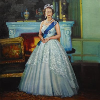 A painting of gown, dress, wedding dress, lady, bridal clothing, vintage clothing, shoulder, formal wear, girl, bride