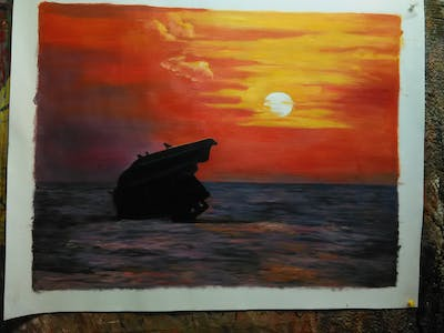 A painting of sea, horizon, sky, sunset, afterglow, ocean, sunrise, calm, wave, dawn