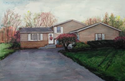 A painting of home, property, house, siding, residential area, yard, real estate, asphalt, estate, suburb