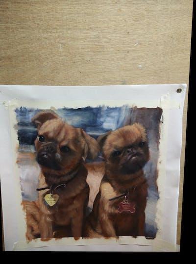 A painting of dog, dog like mammal, dog breed, mammal, vertebrate, dog breed group, bullmastiff, snout, carnivoran, dog crossbreeds