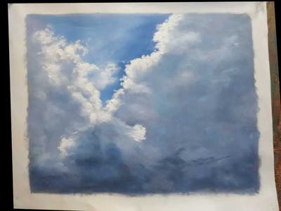 A painting of cloud, sky, cumulus, daytime, atmosphere, atmosphere of earth, meteorological phenomenon, phenomenon, sunlight, storm