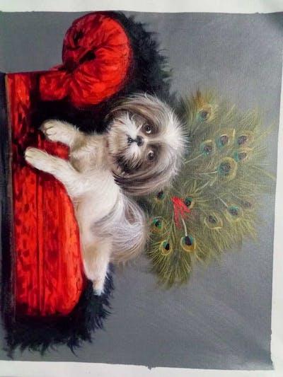 A painting of dog, dog breed, dog like mammal, vertebrate, shih tzu, havanese, puppy, carnivoran, lhasa apso, snout