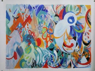 A painting of art, modern art, graffiti, design, mural, graphic design, painting, acrylic paint, graphics, street art
