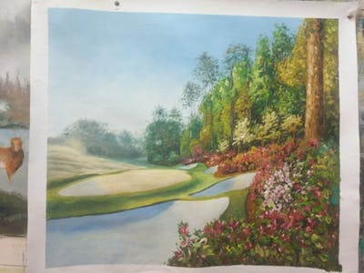 A painting of nature, vegetation, botanical garden, garden, golf course, leaf, grass, landscape, lawn, tree