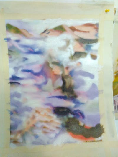 A painting of blue, water, watercolor paint, sky, lilac, purple, flower, painting, reflection, petal