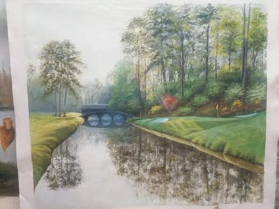 A painting of reflection, nature, waterway, water, tree, morning, grass, landscape, bank, sunlight