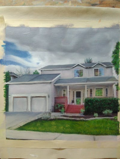 A painting of home, property, house, real estate, residential area, estate, facade, elevation, roof, siding