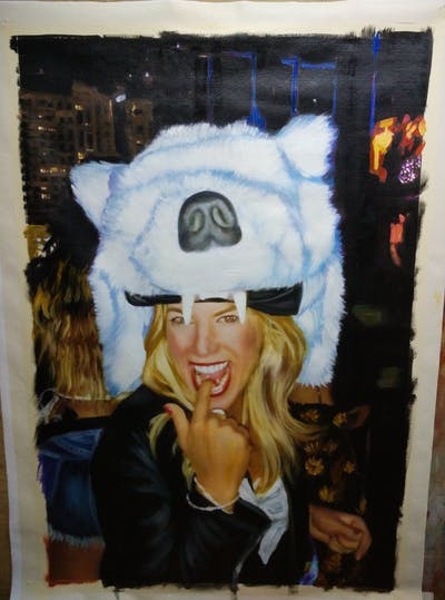 A painting of facial expression, fashion accessory, headgear, smile, costume, fun, fur, human, textile, event