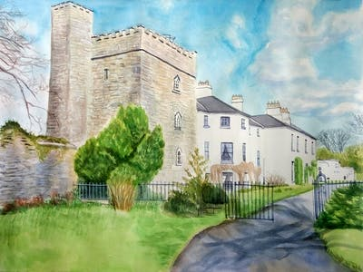 A painting of property, estate, house, building, home, sky, cottage, stately home, mansion, real estate