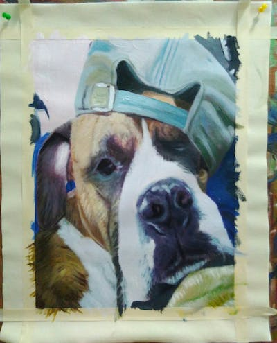 A painting of dog breed, dog, snout, dog like mammal, dog breed group, boxer, american bulldog, american pit bull terrier, ear, american staffordshire terrier