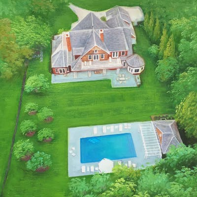 A painting of property, estate, house, home, real estate, mansion, cottage, landscape, yard, grass