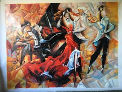A painting of art, painting, modern art, mythology, artwork, visual arts, paint