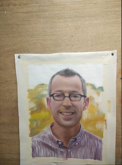 A painting of man, glasses, person, facial expression, vision care, chin, forehead, smile, senior citizen, eyewear