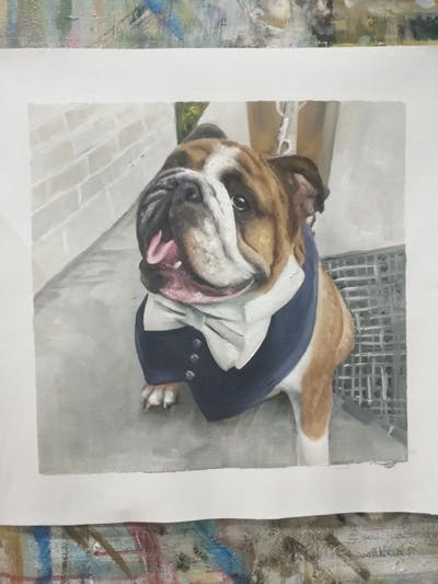 A painting of dog, dog like mammal, bulldog, old english bulldog, dog breed, mammal, toy bulldog, vertebrate, olde english bulldogge, dog breed group