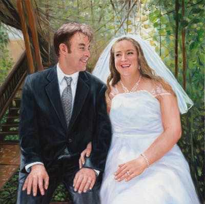 A painting of bride, wedding dress, gown, photograph, bridal clothing, woman, marriage, wedding, groom, beauty