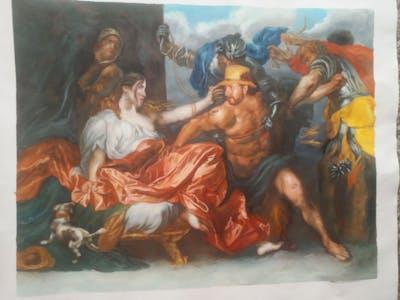A painting of painting, art, mythology, horse like mammal, visual arts, artwork