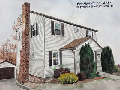 A painting of property, house, home, siding, real estate, residential area, cottage, facade, building, window