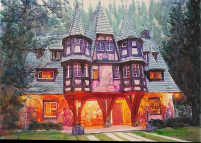 A painting of home, house, property, mansion, estate, cottage, real estate, building, historic house, tree